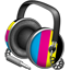 CMYK headphones icon