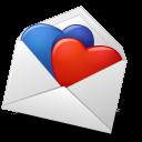 Mail Envelope Hearts BlueRed-128