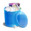 Blue recycle bin full icon